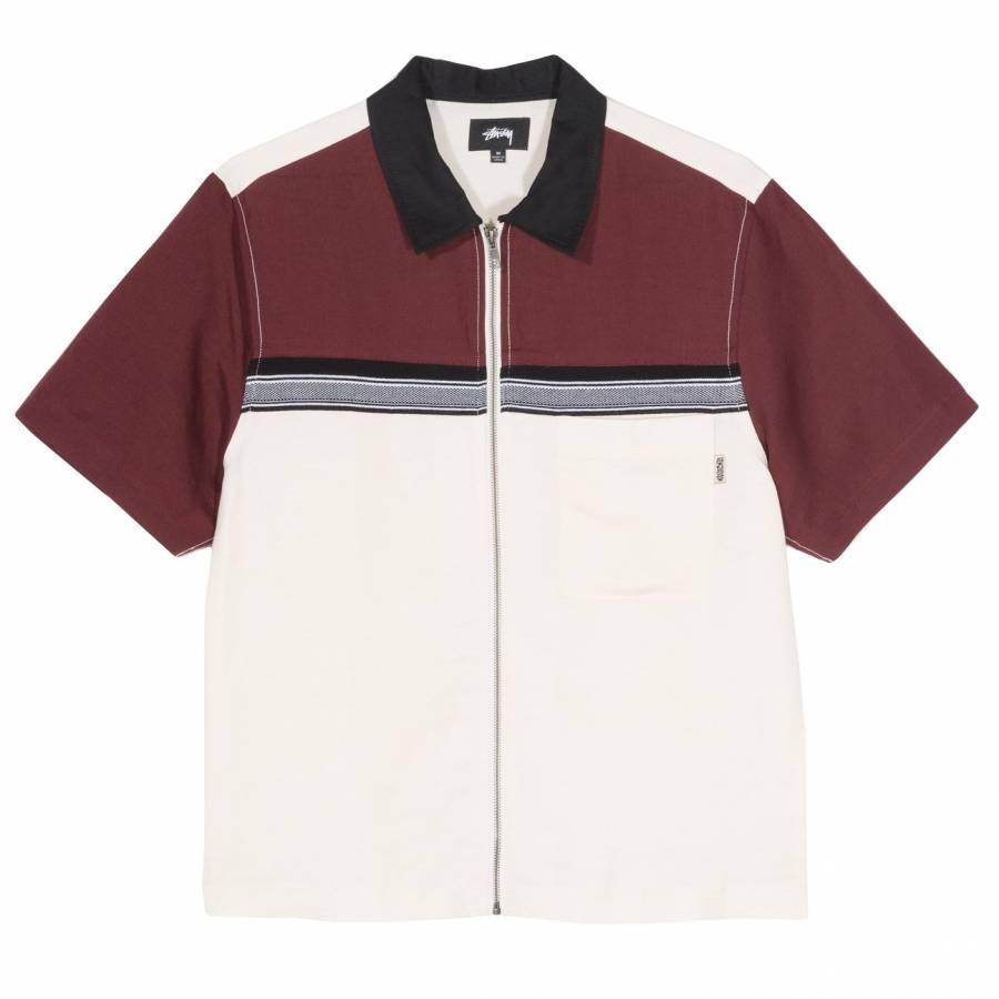 Stussy Color Block Zip Shirt - Berry