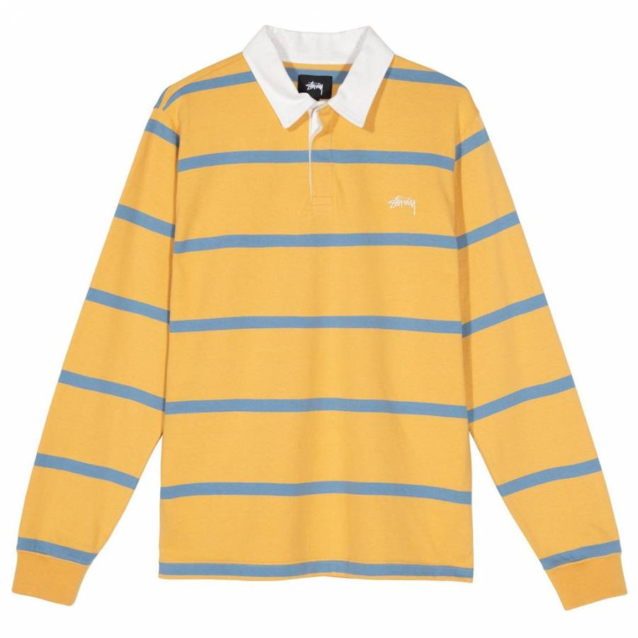 Stussy Hill Stripe LS Rugby Polo - Gold