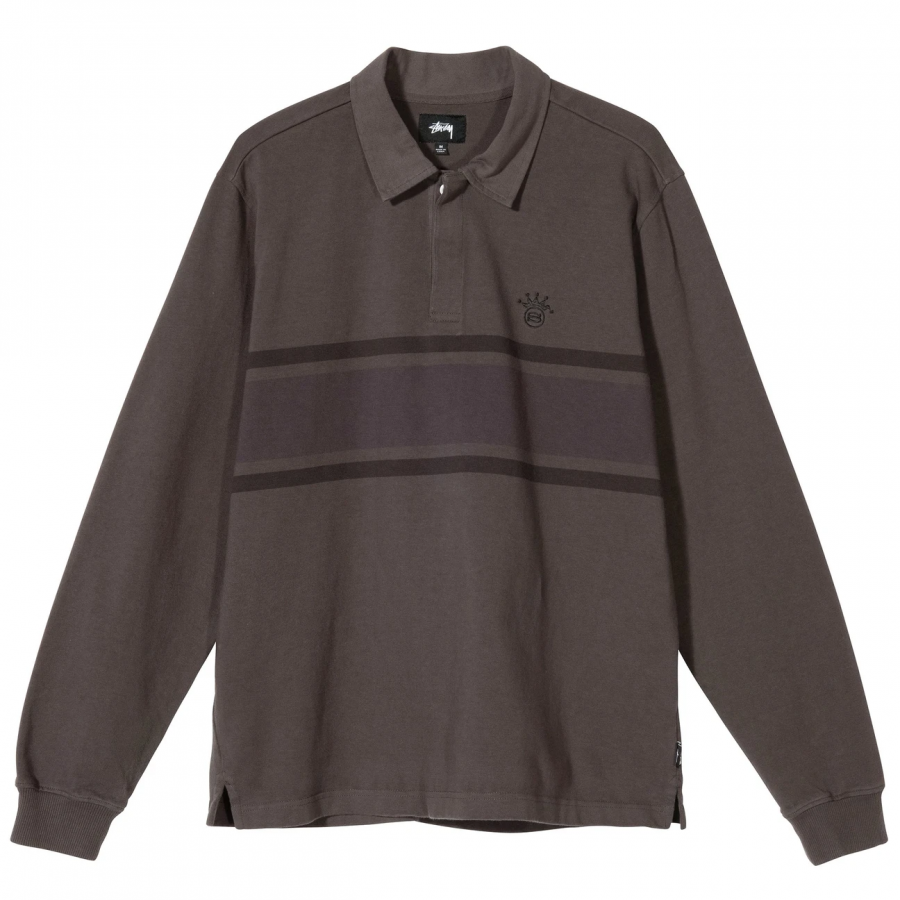 Stussy O'Dyed Stripe LS Rugby - Charcoal