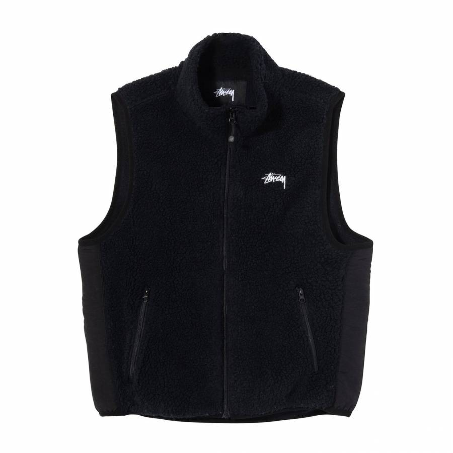 Stussy Block Sherpa Vest - Black