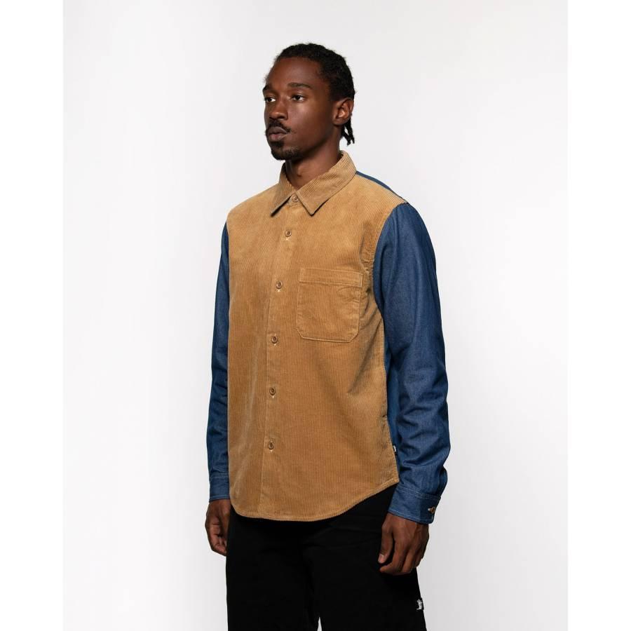 Stussy Cord Denim Mix Shirt - Khaki