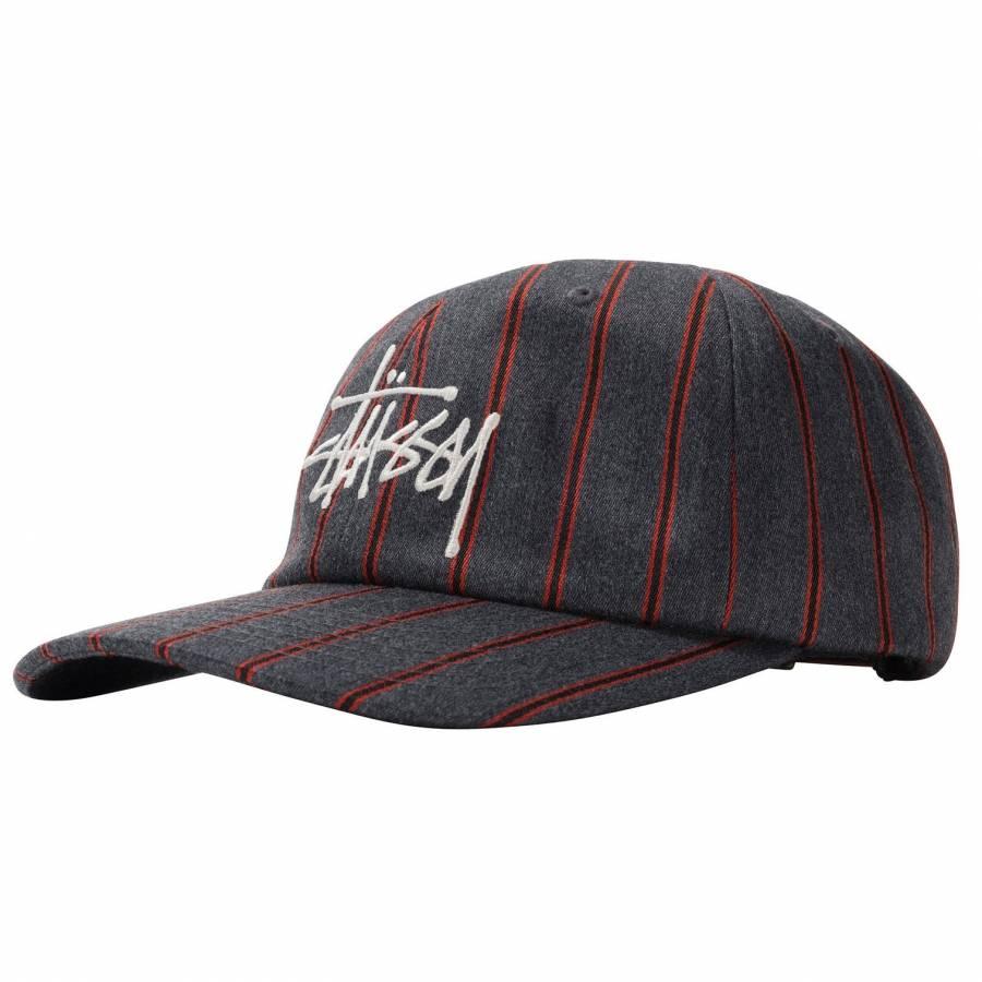 Stussy Big Logo Striped Low Pro Cap - Charcoal