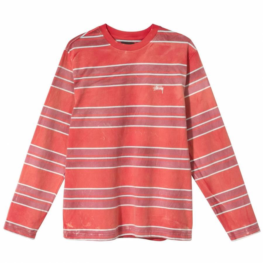Stussy Bleach Stripe Shirt - Red