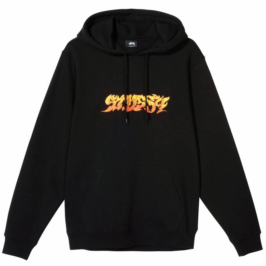Stussy Fire Hoodie - Black