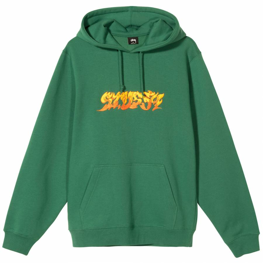 Stussy Fire Hoodie - Dark Green