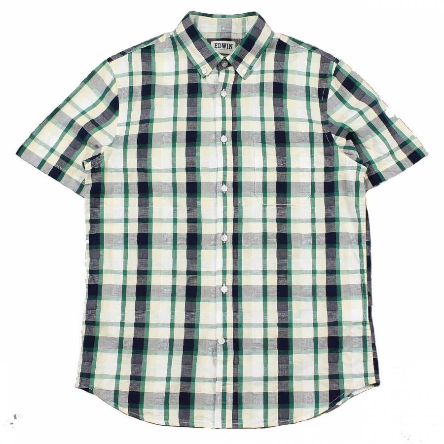 Edwin Standard Short Sleeve Shirt - Green / Navy