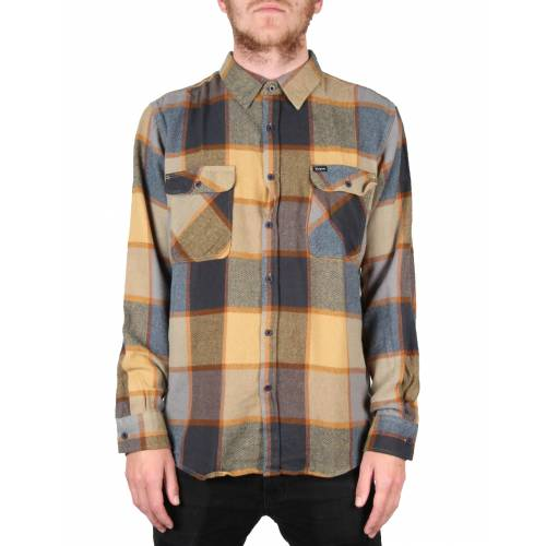 Brixton Bowery L/S Flannel Shirt - Yellow/Charcoal